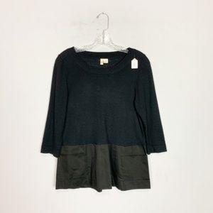 Anthropologie | black 3/4 sleeve sweater medium